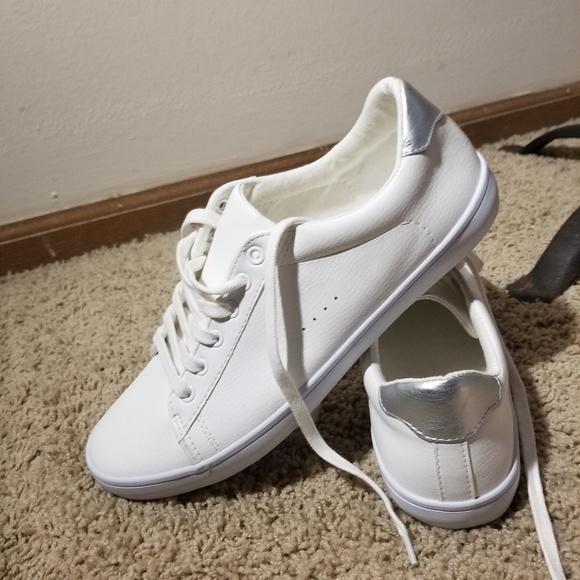 White Faux Leather Sneakers   Poshmark